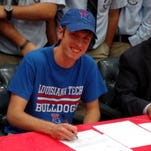 St. Mary's senior Scott Maggio signs his National Letter of Intent to Louisiana Tech Wednesday.