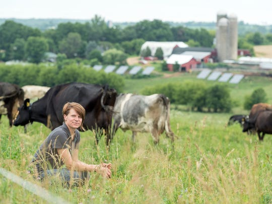 Kelly Placke of Placke Organic Acres near Cuba City milks 36 cows daily for Organic Valley's Grassmilk, its fastest growing line of milk from cows that are exclusively grass-fed.