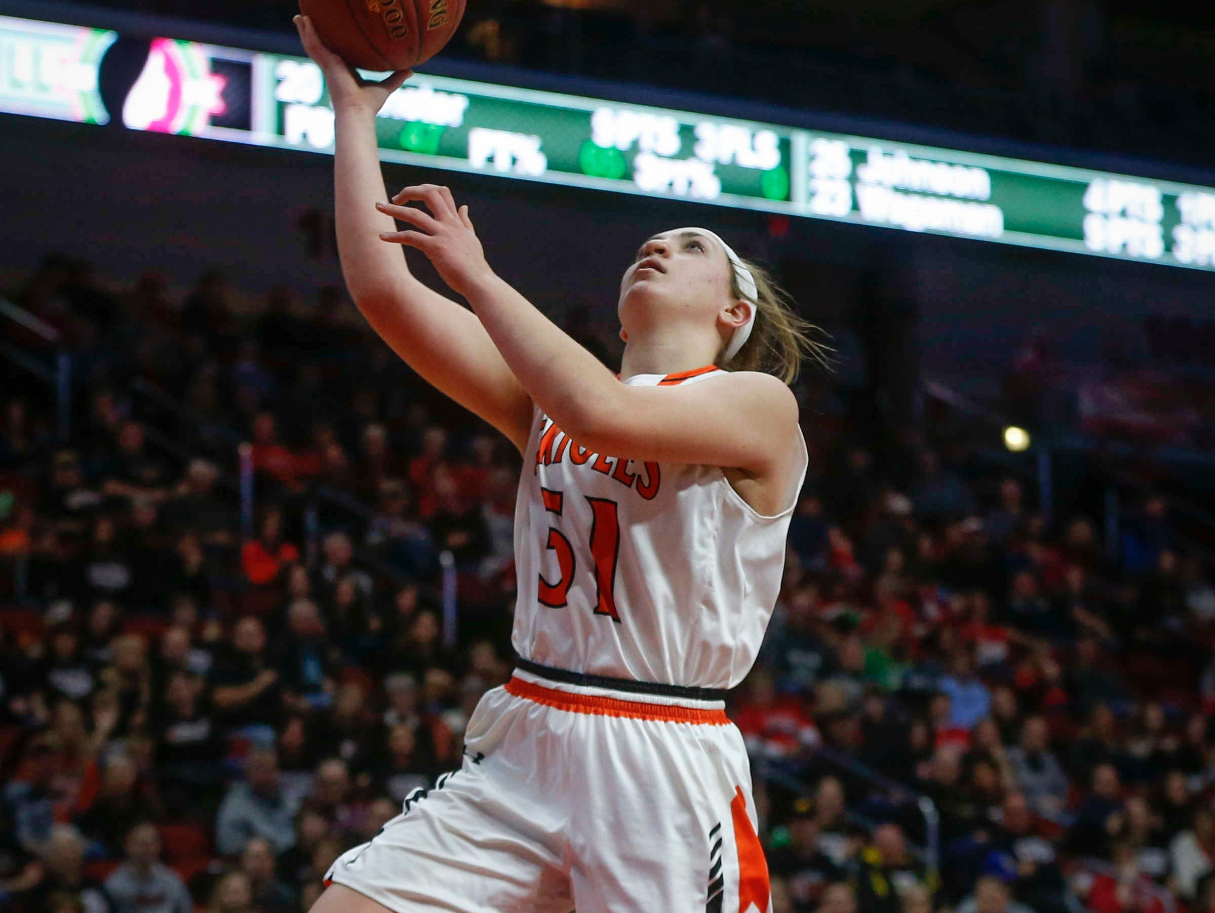 Springville junior Mikayla Nachazel gets free under the basket for a field goal against Kingsley-Pierson during the Iowa high school girls state basketball tournament on Thursday, March 2, 2017, at Wells Fargo Arena in Des Moines.