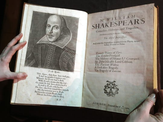 A portrait of William Shakespeare is seen in the Third Folio, in London, Wednesday, March 16, 2016.