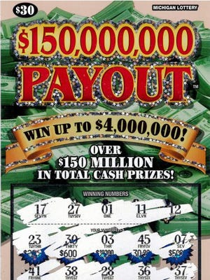 An Oakland County man's winning $150,000,000 Payout lottery ticket.