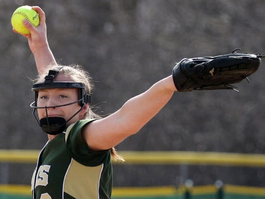 Greenfield's Alyssa Vilkoski pitches the first game of a double header against Shorewood at Greenfield on April 26.
