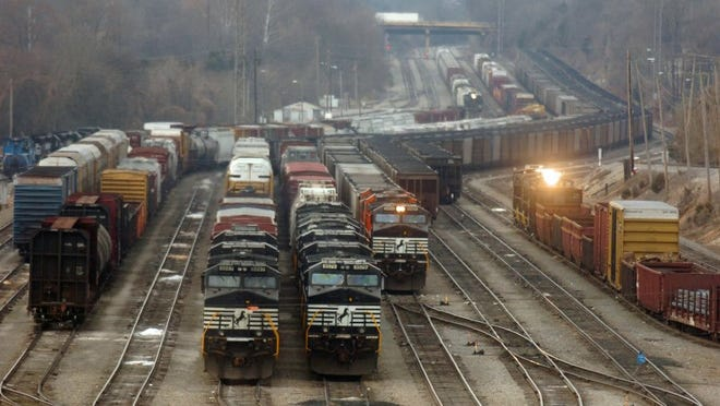 Norfolk Southern trains wait to be disassembled and regrouped before being sent to their final destinations at the railroad's Knoxville yard in this file photo. (Bryan Campbell/ Knoxville News Sentinel/File).