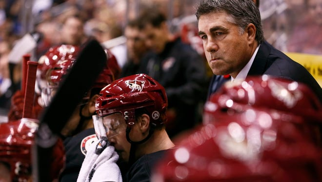Phoenix Coyotes head coach Dave Tippett against Vancouver Canucks on Tuesday, Nov. 5, 2013 at Jobing.com Arena in Glendale, AZ.