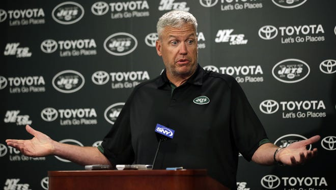 Jets head coach Rex Ryan reacts as he speaks with the media after minicamp on Thursday in Florham Park, N.J. Ryan was asked if the New England Patriots might have obtained a copy of the Jets' playbook.