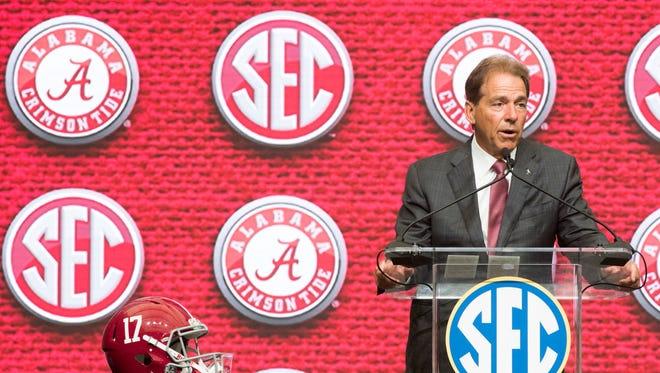 Alabama head coach Nick Saban talks to the press during SEC Football Media Days Wednesday, July 18, 2018, in Atlanta, Ga.