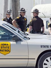 Iowa State troopers congregate outside Agriprocessors