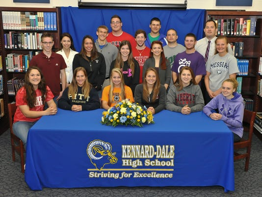 Pictured are, front row, from left: Julia D'Arrigo (Lancaster Bible College, softball), Kaitlyn Williams (University of Pittsburg-Bradford, soccer), Karah Cotton (United State Navy, soccer), Marlaina McConville (Liberty University, beach volleyball), Olivia Becker-Pastelak (Liberty University, volleyball) and Kayte Fiedler (Lebanon Valley College, field hockey); Second row, from left: Jacob Wescott (Harford Community College, cross country), Sara Driggers (West Chester University, softball), Jazmyn Gutshall (Harford Community College, softball), Abigail Cryzer (Limestone College, lacrosse/cheerleading), Jesse Schonbrunner (Limestone College, lacrosse) and Kylie Hornbarger (Messiah College, lacrosse); top row, from left, Lauren Ciccotello (Messiah College, volleyball), John Stoltenburg (University of  Pittsburgh-Johnstown, soccer), David Wallace (Wheeling Jesuit University, lacrosse), Collin Crowell (York College, baseball) and athletic director Gary McChalicher. Missing from the photo is Chance Marsteller (Oklahoma State, wrestling).