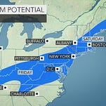 A forecast from AccuWeather shows a major winter storm's potential to bring snow to the northeast later this week,