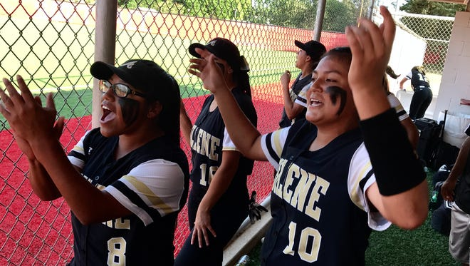 Kaylen Washington (10), who started in the circle Friday for Abilene High, cheers her teammates during the Lady Eagles' turn at bat against Odessa Permian in their Region 1 quarterfinal game in Coahoma.To her right is Lily Galvan (8).