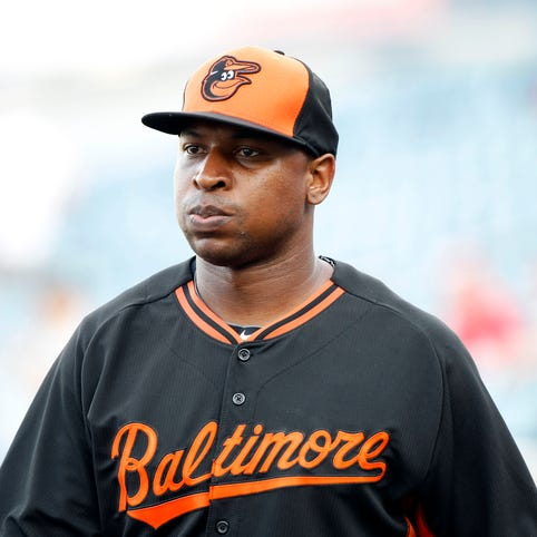 Delmon Young is a free agent who played for the Orioles in 2015.