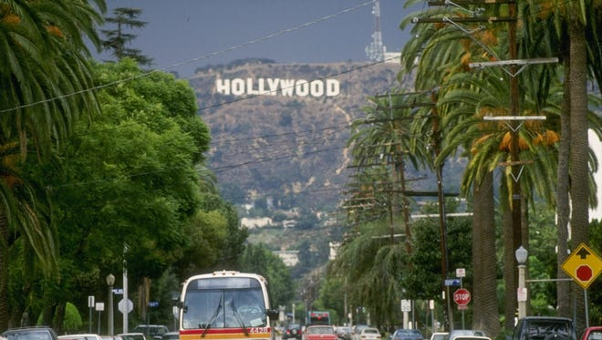 General view of the Hollywood sign on a hill above Los Angeles, California.