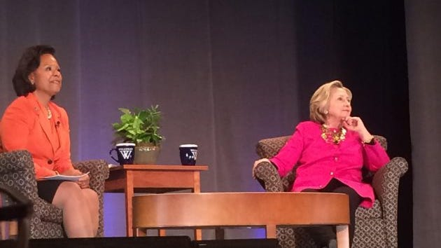 Wellesley president Paula Johnson, left, with Hillary Clinton at Wellesley on March 2, 2017.
