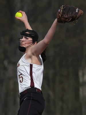 Pittsford Mendon's Taryn Welch winds up a pitch.