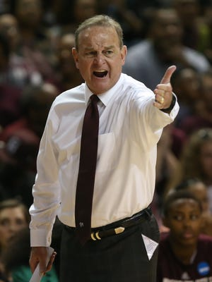 Mississippi State head basketball coach Vic Schaefer complains to an official following a call. Mississippi State played Nicholls in the first round of the NCAA Women's basketball tournament at Humphrey Coliseum on Saturday, March 17, 2018. Photo by Keith Warren