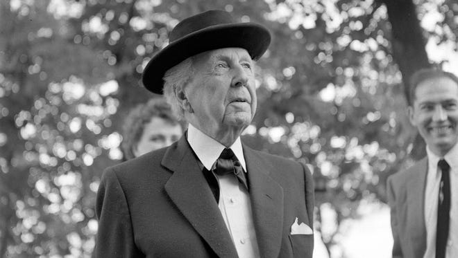 Frank Lloyd Wright stops in Milwaukee to do a television show at WITI-TV and to have talks about the Annunciation Greek Church he was designing. This photo appeared in the July 9, 1956, Milwaukee Journal.