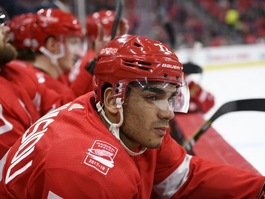 Red Wings forward Andreas Athanasiou was a team-worst