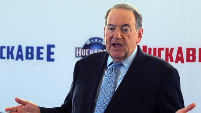 Mike Huckabee speaks during a news conference for his upcoming television show on TBN at the station's Hendersonville campus Oct. 2, 2017.