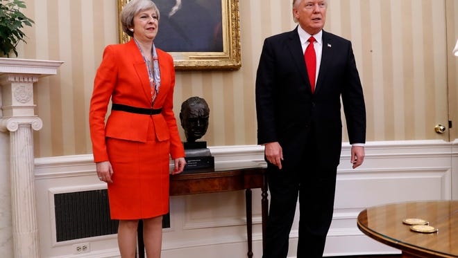 President Trump and British Prime Minister Theresa May at the White House in  January.