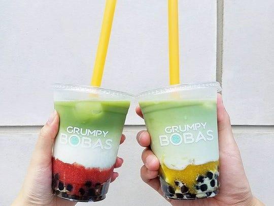 Strawberry and mango matcha lattes from Grumpy Bobas.