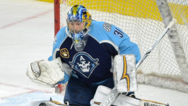 Milwaukee Admirals goaltender Marek Mazanec (shown in an earlier game) stopped 36 shots in an overtime loss that ended the Admirals' season.