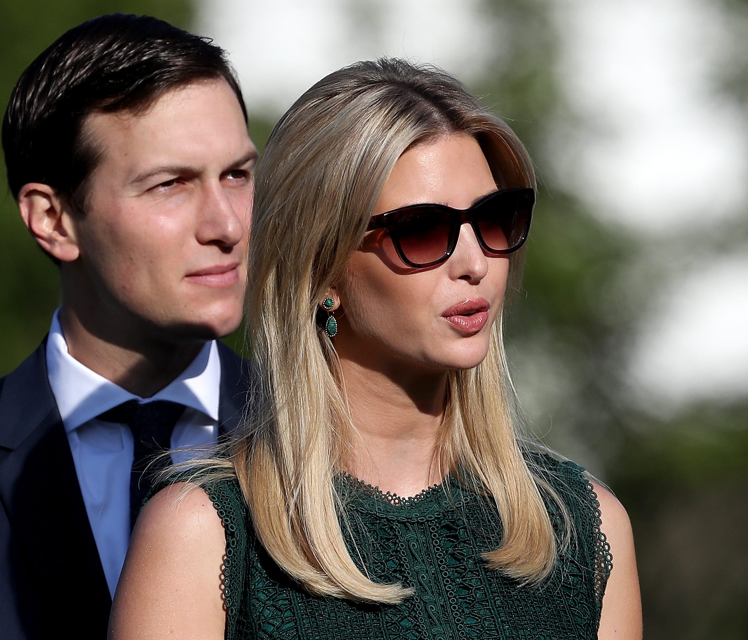 Ivanka Trump and Jared Kushner arrive for a ceremony on the South Lawn of the White House last September.