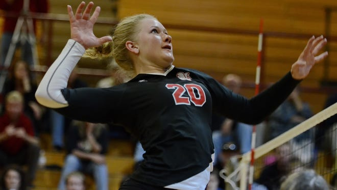 Maddie Palmer, shown during her volleyball career at Hillcrest, is the reigning Big South Conference Player of the Year and the coach's choice as preseason player of the year.
