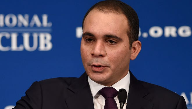 FIFA presidential candidate Jordanian Prince Ali Al Hussein speaks at the National Press Club in Washington, D.C.