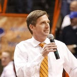 New Syracuse athletic director Mark Coyle talks to the crowd during halftime of an NCAA college basketball game while at Boise State. He begins work July 6.