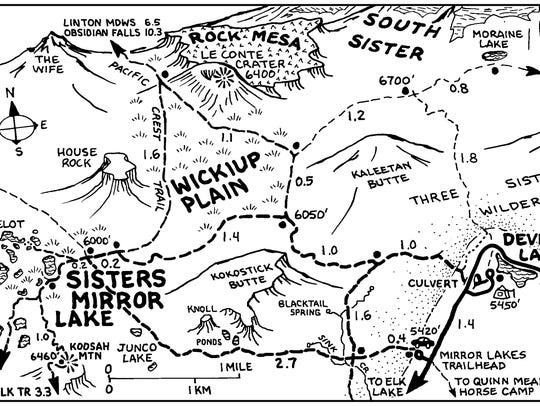 Map of Sisters Mirror Lake area.