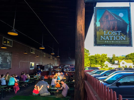 The biergarten and outdoor kitchen at Lost Nation Brewing