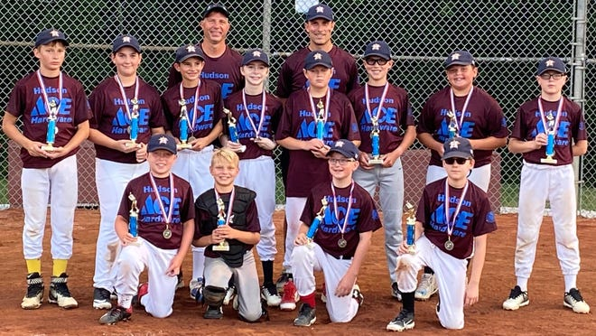 The Astros earned an 11-8 victory over the Indians in the age 11-and-12 Hudson Kiwanis Major League title July 28. With the win, the Astros are scheduled to play the Aurora age 11-12 champions Saturday in Aurora. Pictured are, front row, from left: Jack Sutton, Caden Havens, Jeffrey Thompson and Josh Carter; middle row: James Wiggers, Nathan Cunningham, Nate Langhans, Logan Kistler, Matthew Lynn, Caleb Van Drunen, Liam Wearley and Eddie Marsh; and back row: coaches Peter Havens, Mark Van Drunen and Greg Wiggers.