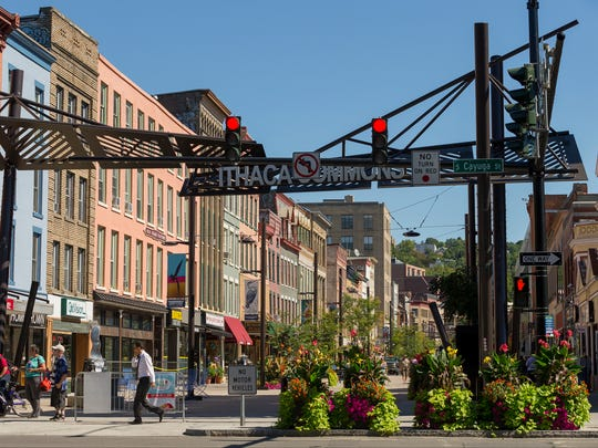 The west end of the Ithaca Commons.