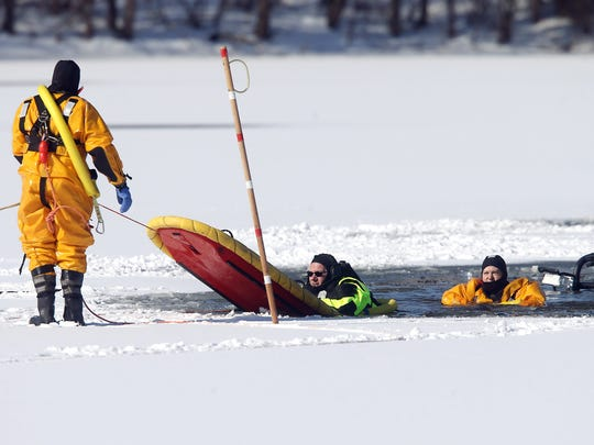 Roxbury Fire Department and OEM out on Mills Pond in Roxbury to rescue the deer, which became stuck in a partially frozen pond for 24 hours. An OEM amphibious rescue craft almost reached the deer but suddenly tipped and sank into the pond. All of the responders and the deer were rescued. March 19, 2017, Roxbury, NJ