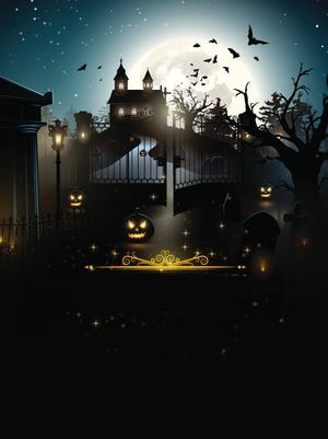 Scary old graveyard and church in the woods - Halloween party poster