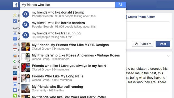 Which candidates do my friends like on Facebook?