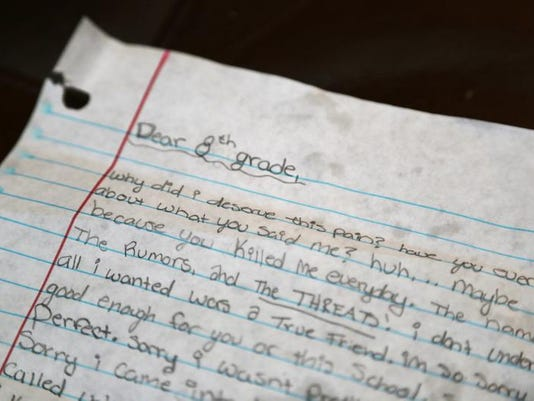 Danielle Green said she found this letter next to Angel's bed. She believe her daughter wrote the letter the morning