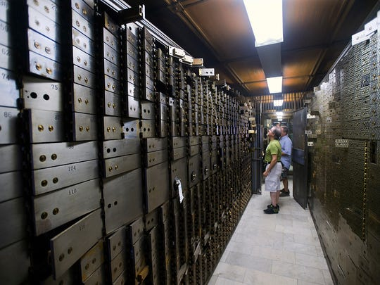 Safe deposit boxes in the vault are now empty. Paul Kuehnel - York Daily Record/ Sunday News