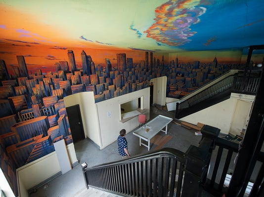 A city streetscape mural from the former night club..  Paul Kuehnel - York Daily Record/ Sunday News