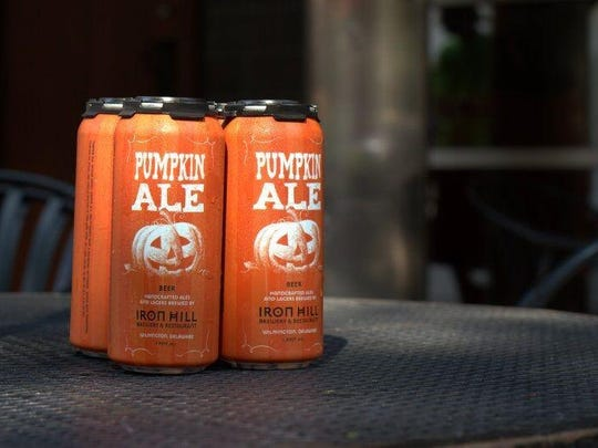 """Iron Hill Brewery & Restaurant's pumpkin ale can be purchased in four-pack cans (take-out only) for $16.75 starting Friday, Sept. 11. The beer is sold only through Oct. 31. """"When it's gone, it's gone,"""" owners says."""