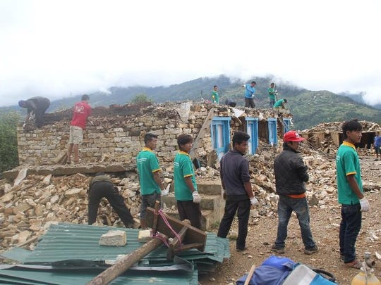 Rebuilding efforts in the Nepali village of Chyangba after earthquakes rocked the country.