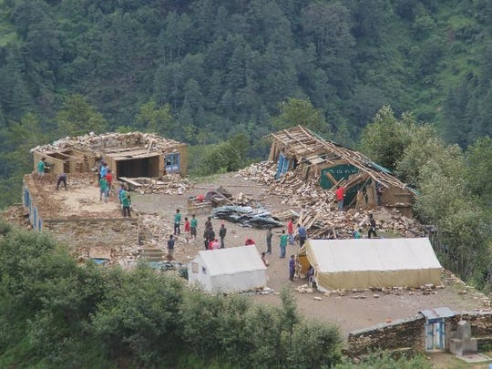 Damage in the Nepali village of Chyangba after earthquakes rocked the country.