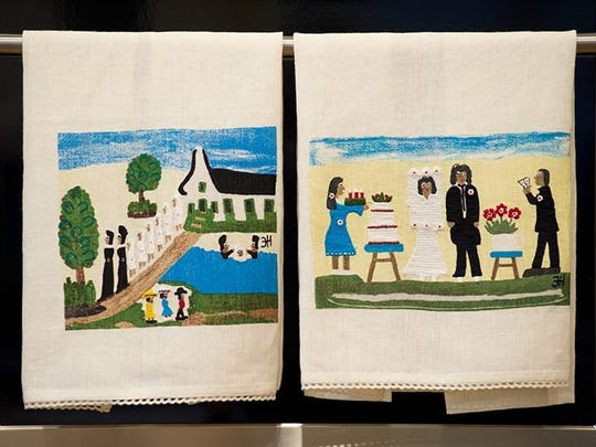 Linen tea towel designs wee inspired by the late Natchitoches artist Clementine Hunter. Cost: $45 each.