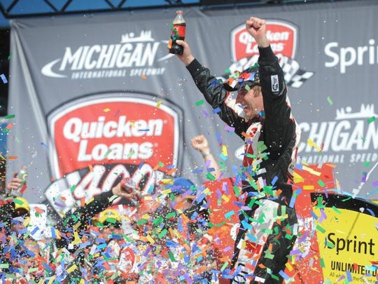 Jun 16, 2013; Brooklyn, MI, USA; NASCAR Sprint Cup Series driver Greg Biffle (16) after winning the Quicken Loans 400 at Michigan International Speedway. Mandatory Credit: Randy Sartin-USA TODAY Sports