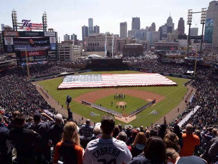 Comerica Park, home of the Detroit Tigers.