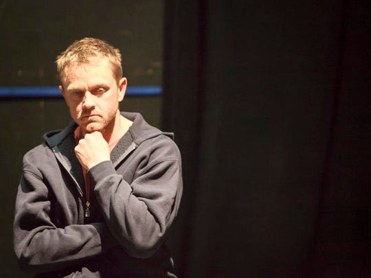 """Actor Andy Butterfield during a rehearsal for Vermont Stage Company's production of """"The Quarry,"""" by Vermont playwright Greg Pierce, at Off Center for Dramatic Arts on Friday."""