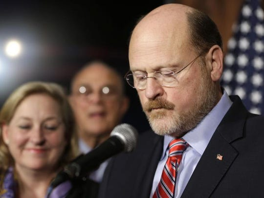 New York City mayoral candidate Joe Lhota gives his concession speech in New York Tuesday. Bill de Blasio was elected New York City's first Democratic mayor in two decades. (AP Photo/Seth Wenig)