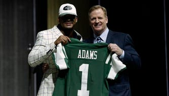 LSU's Jamal Adams, left, poses with NFL commissioner Roger Goodell after being selected by the New York Jets during the first round of the 2017 NFL football draft, Thursday, April 27, 2017, in Philadelphia. (AP Photo/Matt Rourke)