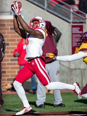 Nebraska Cornhuskers wide receiver Stanley Morgan Jr. catches a pass in the second half against the Minnesota Golden Gophers at TCF Bank Stadium.