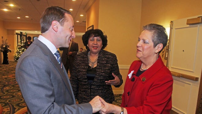 Westchester County Executive Rob Astorino greets honoree at a prior Senior Citizens Hall of Fame Luncheon.